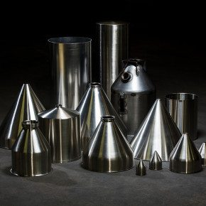 <p>Various stainless steel conical hoppers.</p>